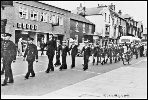 1961 parade in Abergele Market Street. Photo by Dennis Parr.