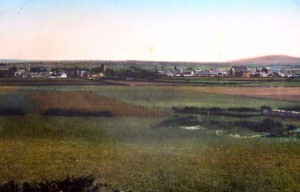 Old postcard looking down on Abergele from Red Rock